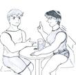 第43回挿絵「生ビールを片手に語り合うミカとケネス」