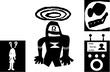 逃げるロボット_シルエット
