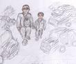 ヤクザっぽい大人と子供が手を……を歩む