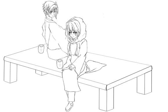 【塗り絵企画Ⅳ】線画  #4「幼馴染み」