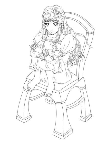 【線画×彩色◆コラボ祭】膝を抱える少女(修正版)