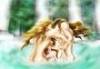 湯の中の格闘