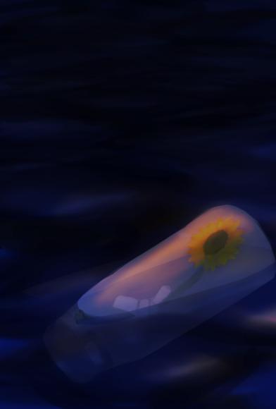 夜の海とひまわり