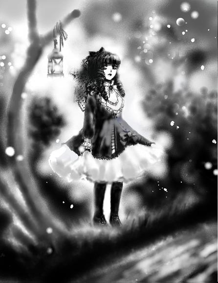 イラスト1・少女・夜の森