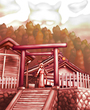 夕暮れの神社と和服少女
