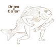 【線画×彩色】線画・エアギターする魚類