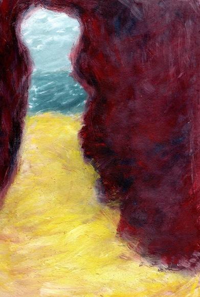 ご自由にどうぞ背景「海辺の岩場」