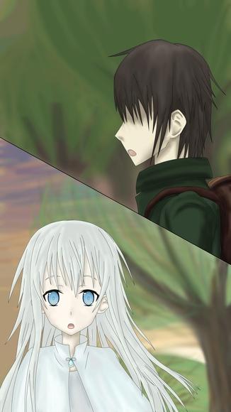 夕暮れの森と、天界の少女 挿絵