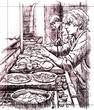騎士修道会の朝食準備~ペン画