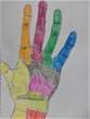 カラフルな手。