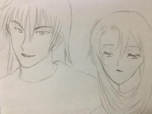 澪と哲郎(鉛筆ラフ)
