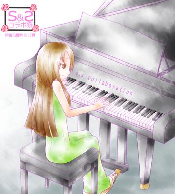 【線×色】girl and piano(線画:伊香乃霜柴さま)