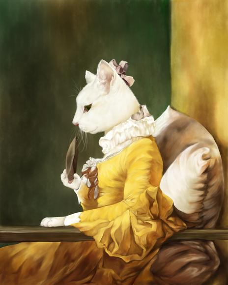 【みんなの名画企画】鰹節を見つめる少女猫