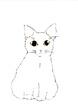 ネコ・面相筆+色鉛筆
