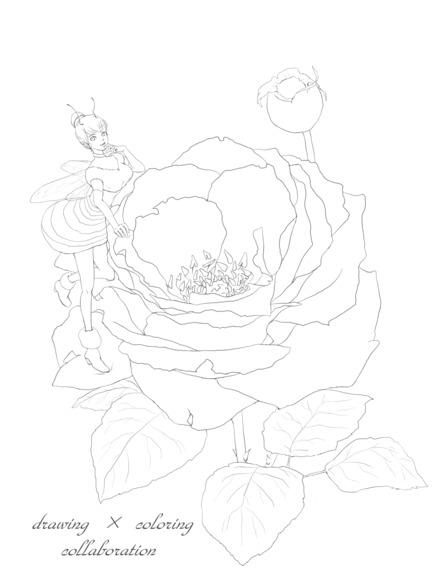 【線画×彩色◆コラボ祭Ⅱ】薔薇(png)