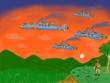 夕日を進む航空戦隊