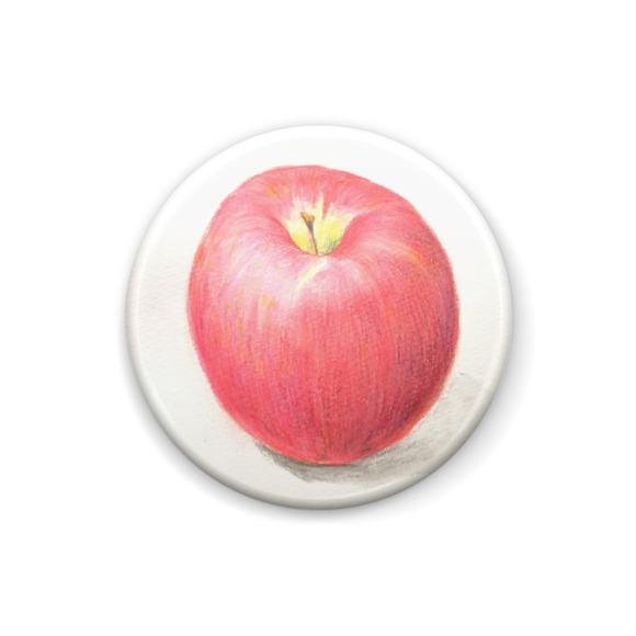 りんごの缶バッジ