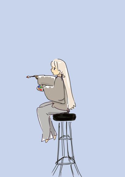 背の高い椅子に座った絵描きの少女