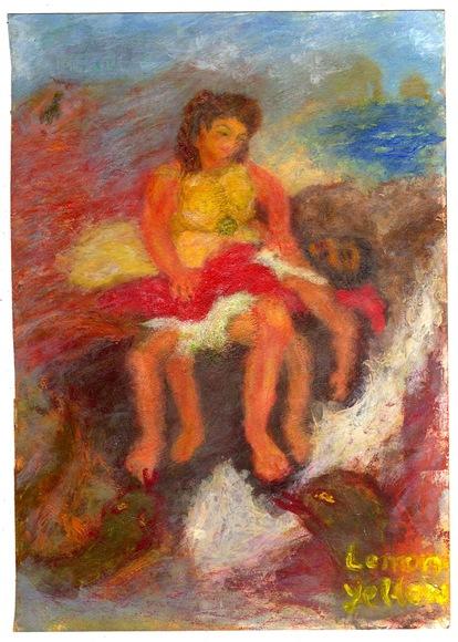 女神に絞められるラオコーンとエトルタの崖らしき背景