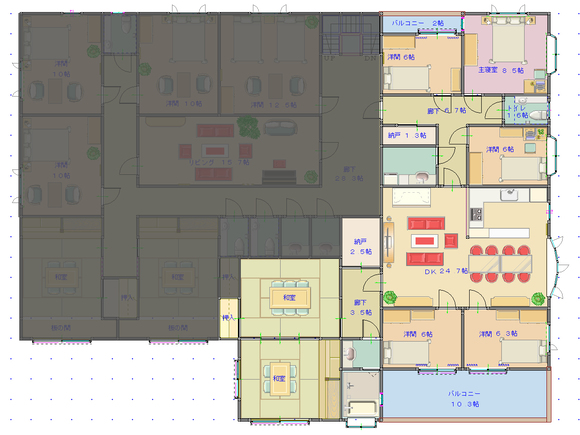 遺跡上に建てた拠点施設・2階間取り図(主人公らの専用住スペース)