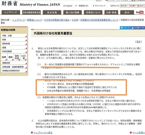 財務省も認めている 日本は財政破綻しないと