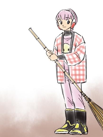 ロボ子さん、綿入り半纏を着る。