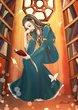 書庫で本を読むブルーナ