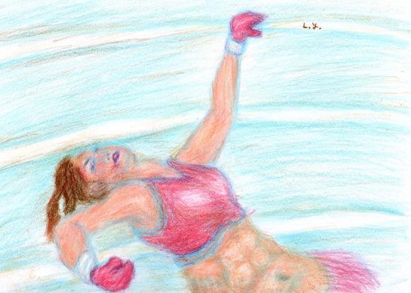 ロープにもたれかかる格闘家の女性