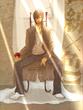 【線×色】ひなたぼっこさんの線画「椅子の人」を塗った。