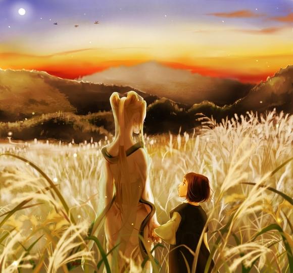 8月*月の薄野と雁。