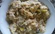 昨夜の豆乳鍋の残りで絞ったお豆腐と合わせて炒め物