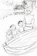 童話「小舟とお日さま」の挿絵。