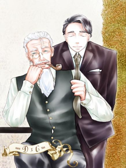 【線×色Ⅲ】爺と従者(まうすさまの線画)