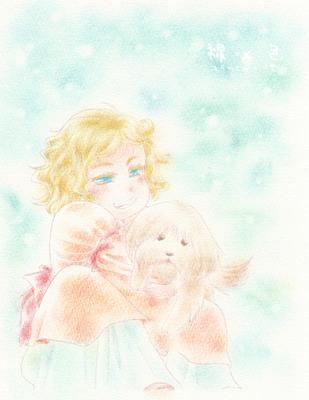 【線×色】少女とわんこ(線画:つちのこ@ さま)
