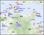 北部九州図 第二次姫島沖海戦時