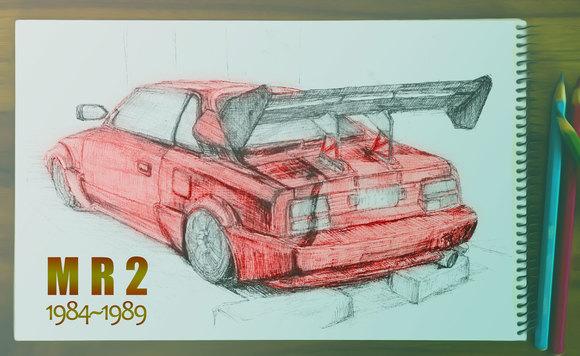 トヨタ MR2(AW11)のスケッチ
