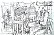 ダマーラ・カロの昼食~ペン画途中