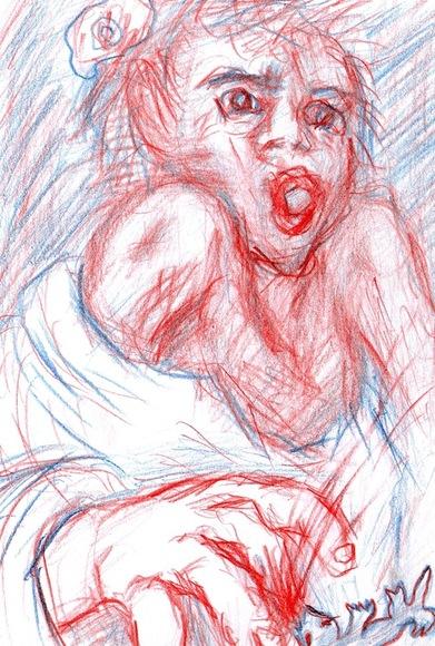 カラヴァッジョ『トカゲに噛まれた少年』模写?