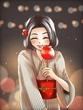 りんご飴女子