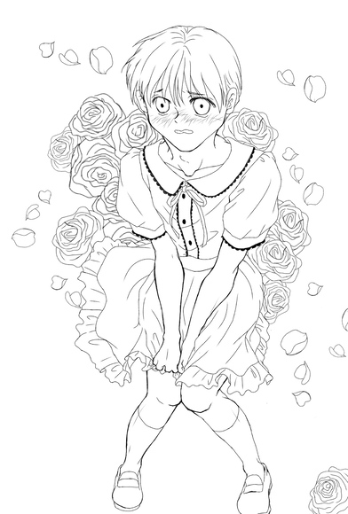 【イラスト交換企画】如月 ちあきさまへのイラスト 背景の薔薇
