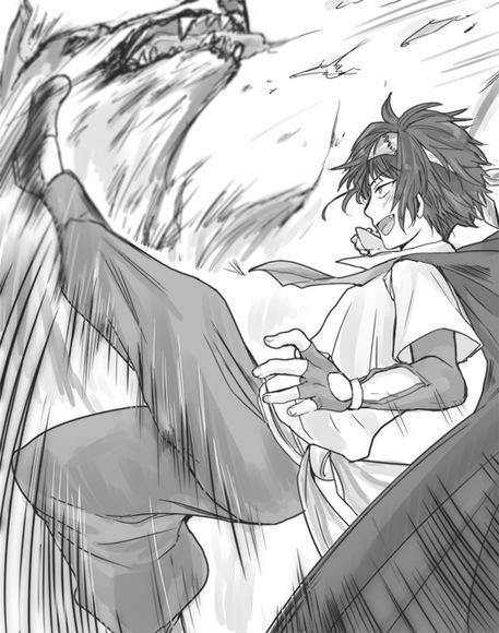 挿絵7【ローレル、大狼を撃退す】