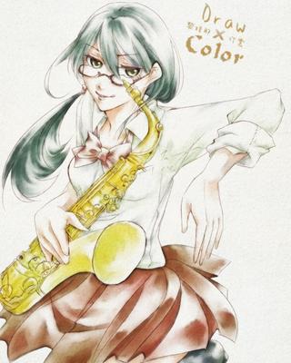 【線×色Ⅱ】吹奏楽系少女(黎 珠那さまの線画)