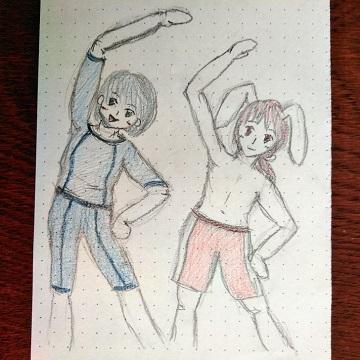 アデリーとブルーナと水泳