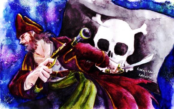 【線×色】海賊(Captain_Umayanさま線画)