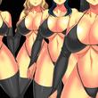 ズラリと並ぶ黒ビキニ巨乳女戦闘員