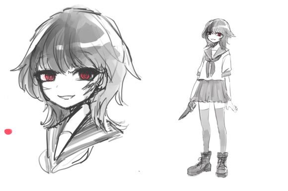 紅のオクルス/ウルフカットの少女