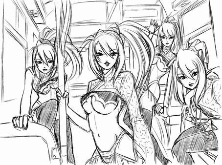バスの中で分身