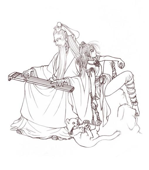 【線画×彩色◆コラボ祭Ⅱ】参加線画2『月下思郷』(透過ver.)