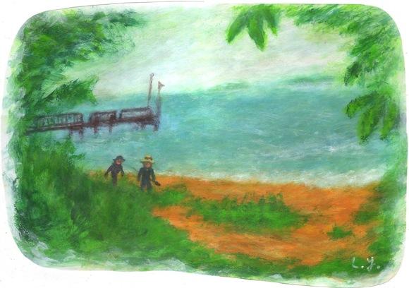 湖畔の釣人