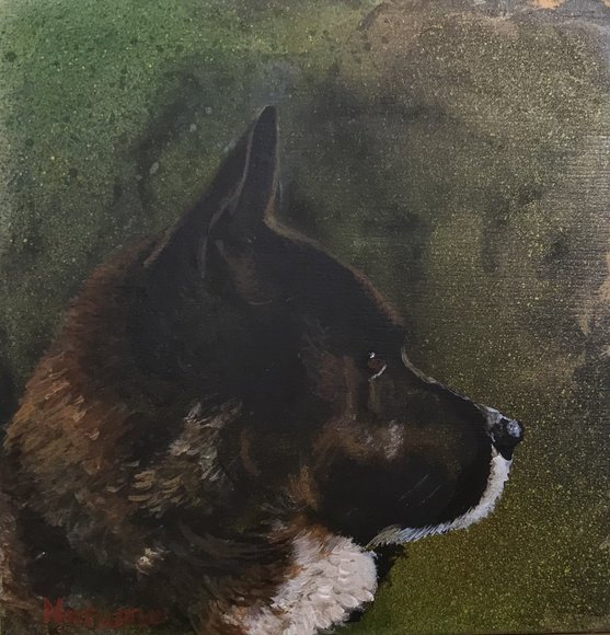 愛犬アクリル画